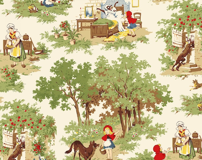 TO GRANDMOTHER'S HOUSE, Little Red Riding Hood Nursery Rhyme Cotton Fabric by Whistler Studio for Windham Fabrics