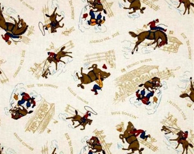 Cream Cowboy Fabric Toille Western Ride 'em Cowboy by Robert Kaufman