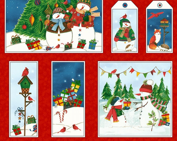 WINTER WISHES PANEL, Cotton Holiday Panel by Whistler Studio for Windham Fabrics 24 x 44 inches