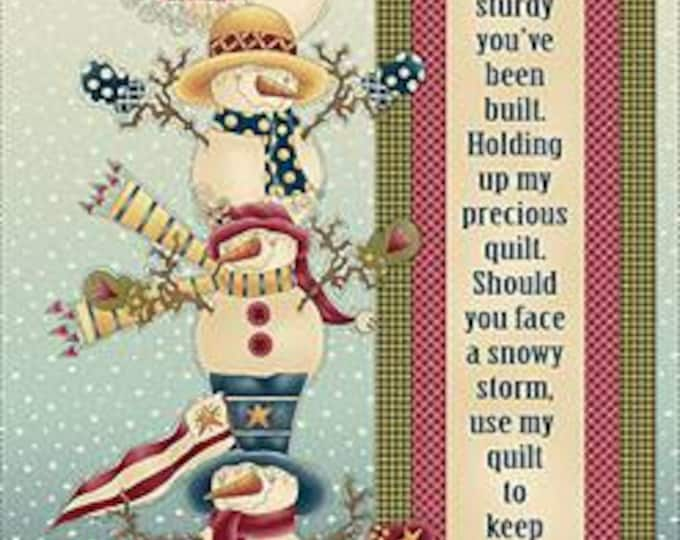 CHRISTMAS HOLIDAY FABRIC, Children's Fabric, Holiday Fabric, My Precious Quilt Snowman Banner 24 In. Panel by Leanne Anderson