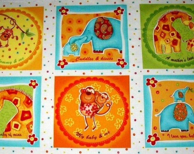Children's Fabric Panel, Safari Sweet Hearts by Diane Eichler for Red Rooster 24 x 44