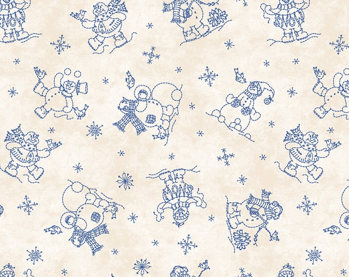 ROLY-POLY SNOWMEN, Winter Holiday Fabric By Bird-Brain Designs Collection for Maywood Studios