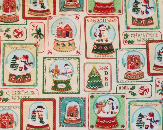 HAPPY HOLIDAY SNOWMEN, Cotton Christmas Fabric by Benartex 44 inches