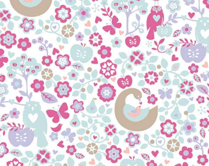 OOO Baby Pink Owls and Apples Cotton Flannel Fabric  by Fresh Designs for Henry Glass & Company