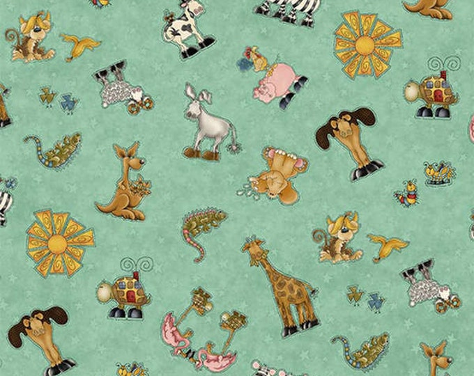 WHY, CHILDREN'S FABRIC,  Light Teal Characters Cotton Fabric by Leanne Anderson for Henry Glass and Company.  44-45 inches wide.