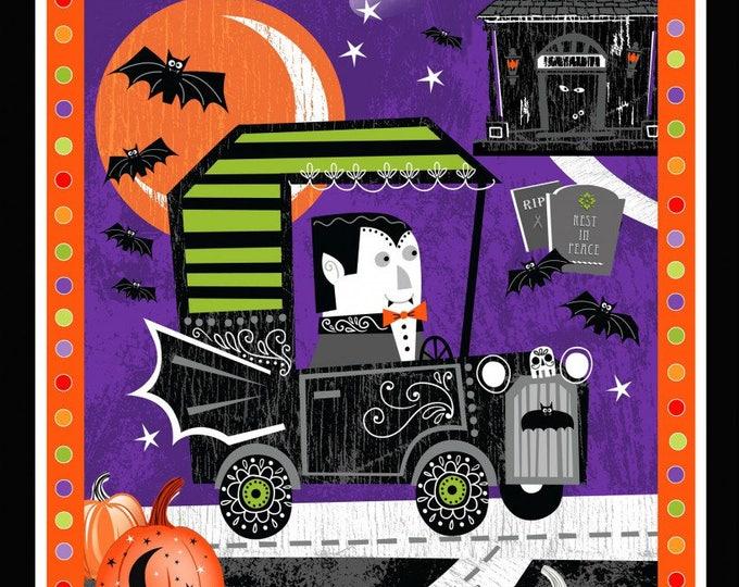 Halloween Panel, Vampire Halloween Cotton Panel 24 x 44 inch Glow In The Dark Panel by Henry Glass