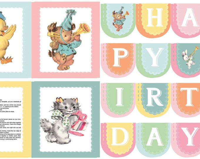 PERFECT PARTY PANEL, Children's Cotton Birthday Banner and Pillow Panel by Cottage Mama