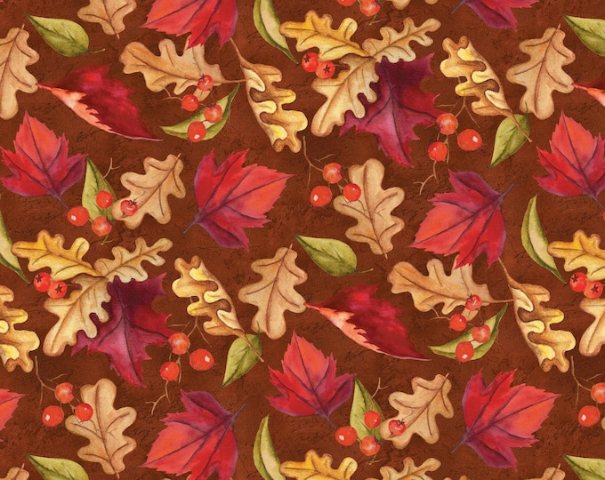 THANKSGIVING FABRIC, Thankful Harvest, Multi Tossed Leaves Cotton Fabric 44-45 inches wide by Wilmington Prints