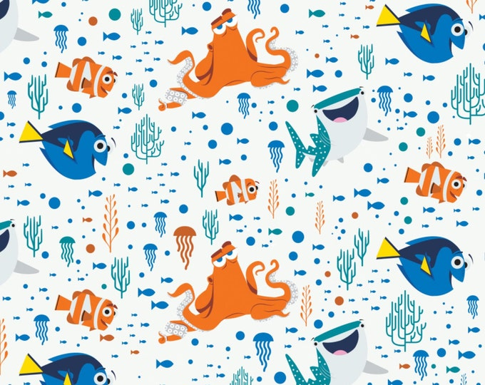 Finding Dory Characters White/Coral Cotton Children's Fabric by Disney 44 inches wide