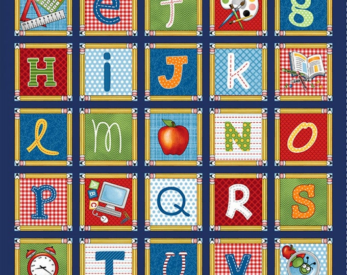 SCHOOL ZONE FABRIC Cotton Panel 24 x 44 Inches by Studio E