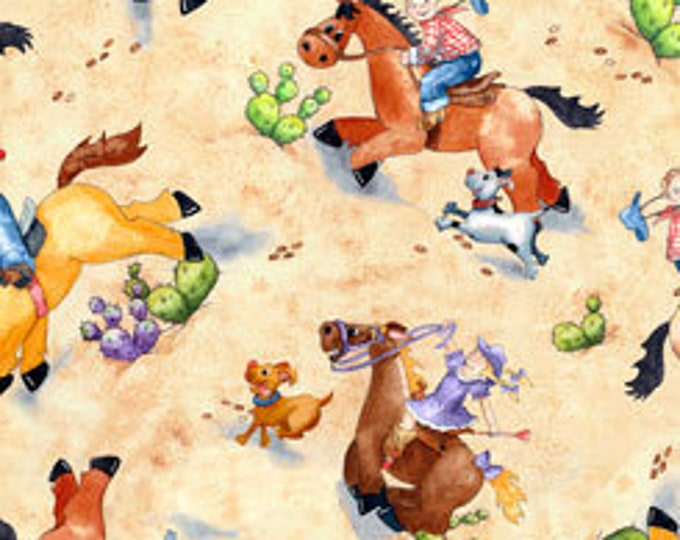 HORSIN' AROUND WESTERN, Children's Cotton Fabric by Quilting Treasures 44 Inches Wide