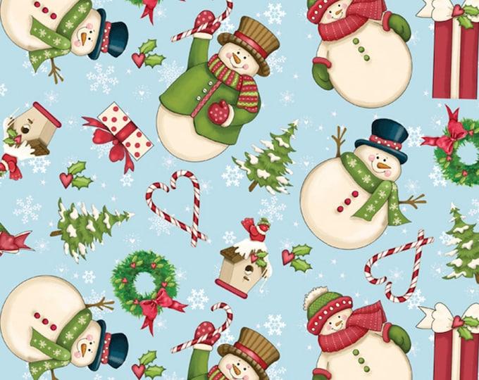 MERRY SNOWMEN, Blue Cotton Merry Snowmen from David Textiles 44 Inches Wide