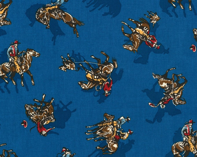 Blue Cowboy Fabric Ride 'em Cowboy Cotton Fabric by Robert Kaufman