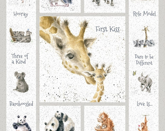 FIRST KISS PANEL, Children's Cotton Animal Panel from Love Is Collection by Hannah Dale 36 x 44 Inches