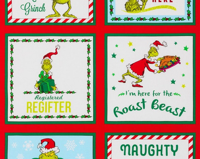 THE GRINCH PANEL, How The Grinch Stole Christmas Cotton Panel by Robert Kaufman 24 x 44 Inches