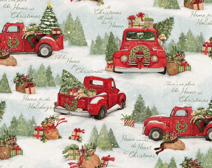 RED TRUCK CHRISTMAS, Home For Christmas Cotton Holiday Fabric 44 Inches Wide