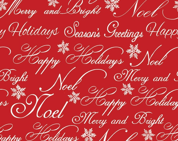 HOLIDAY CHRISTMAS FABRIC, Christmas Garden Words Cotton Holiday Fabric by Fabric Editions 44-45 Inches Wide