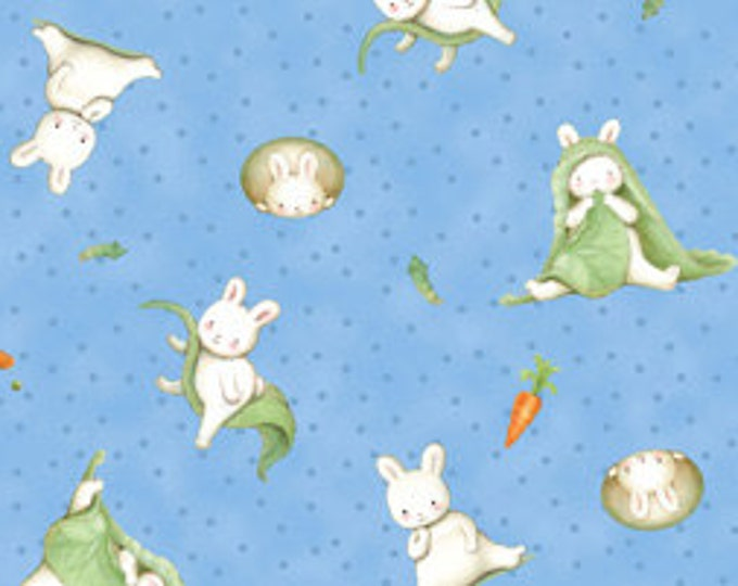 WHO'S A BUNNY, Children's Cotton Fabric Blue Multi Tossed Animal  Print Fabric by Quilting Treasures