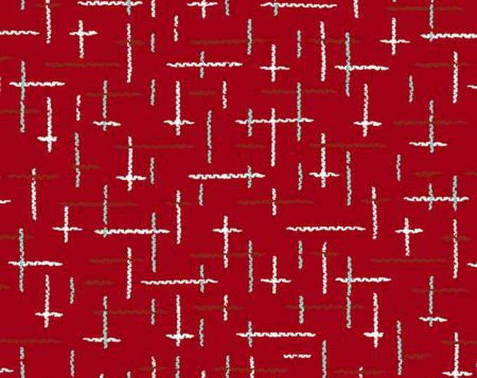Christmas Holiday Fabric, Retro Santa Red Multi Cotton Fabric by Cloth Works, 44-45 inches wide
