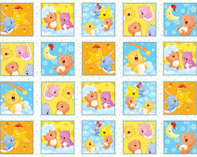 WISH UPON STAR, Children's Flannel Blocks by Henry Glass 44 inches