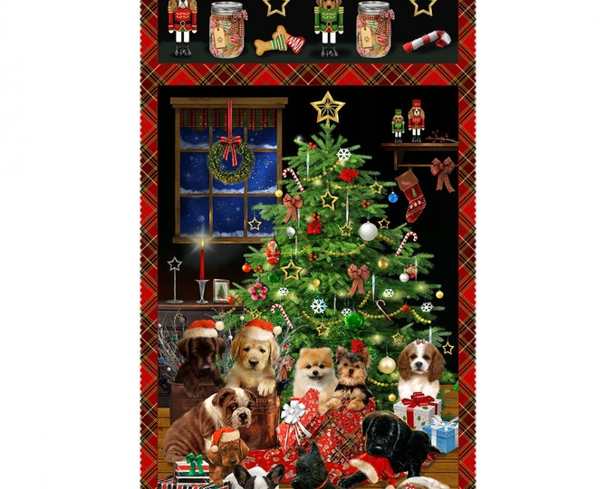 CHRISTMAS FIRESIDE PUPS Cotton Holiday Panel 24 x 44 Inches by Henry Glass