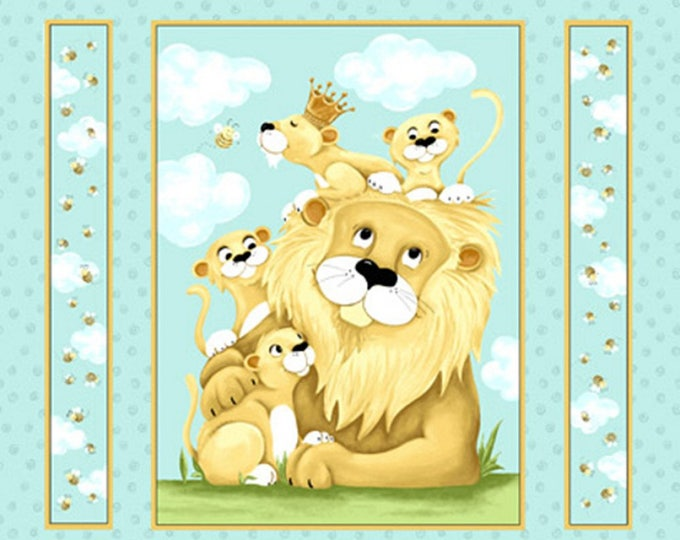 LYON THE LION, Children's Cotton Fabric Panel by Suzybee 36 x 43 inches