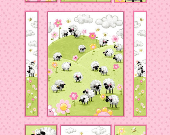 Lamb Fabric, Children's Cotton Panel Lal The Lamb Pink/Multi  Fabric Panel by Susybee 35 x 42