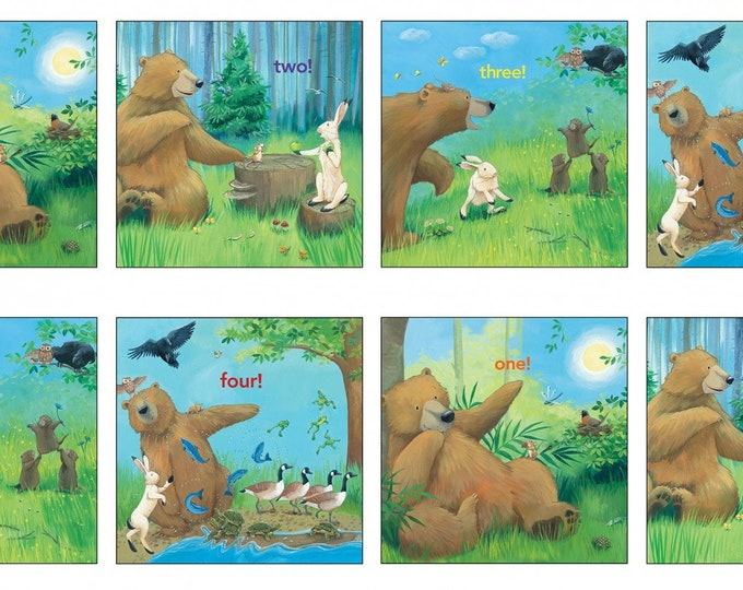 BEAR COUNTS, Children's Cotton Cloth Panel from Elizabeth Studios 24 x 44 Inches