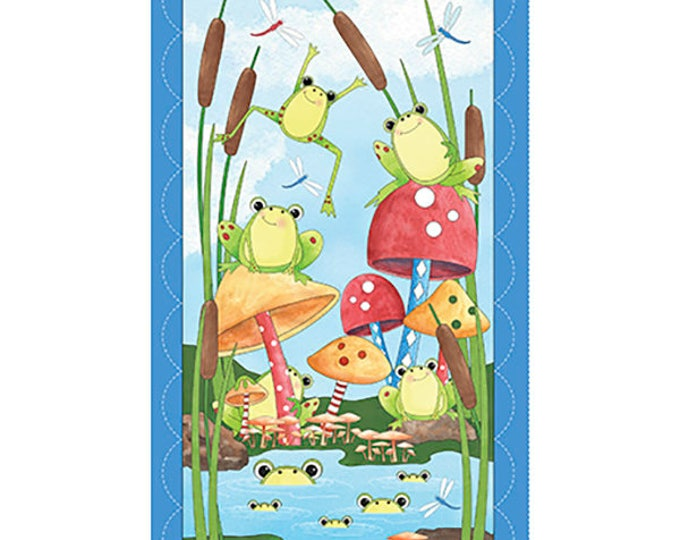 FABRIC PANEL, It's A Pond Party Children's Cotton Panel 44 x 23.5 inches by Desiree's Designs