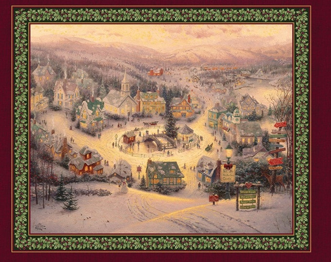 KINCADE CHRISTMAS PANEL, The Spirit Of Christmas Cotton Panel from Thomas Kincade Collection 24 x 43 Inches