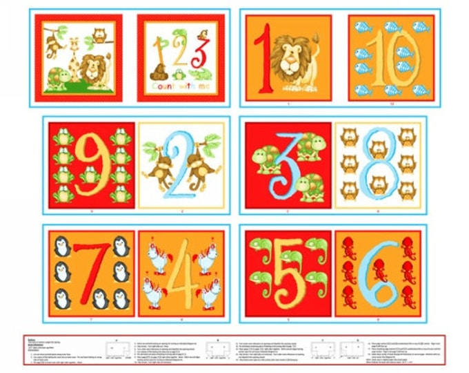 Numbers Fabric ABC 123 Number Book Panel by Shelly Comiskey for Henry Glass 35 x 44