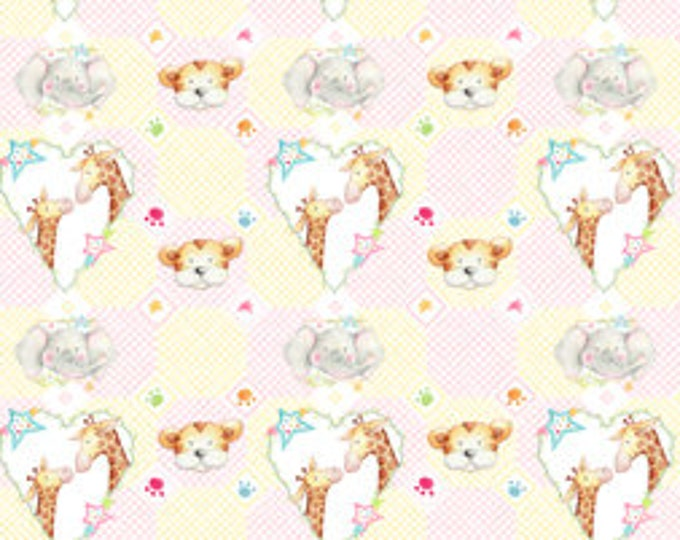 CUDDLE TIME PINK/ Multi Cotton Children's Fabric by Quilting Treasures 44 Inches Wide
