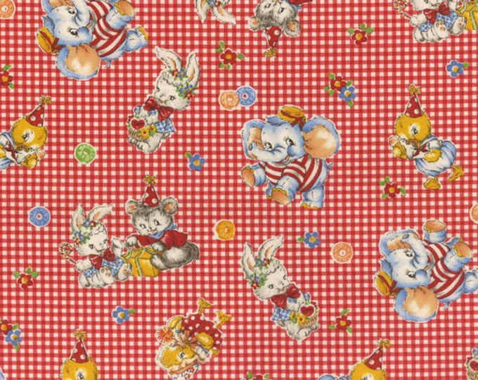 Merry Bon Bon Red Tossed Elephants cotton fabric by Lecien of Japan.