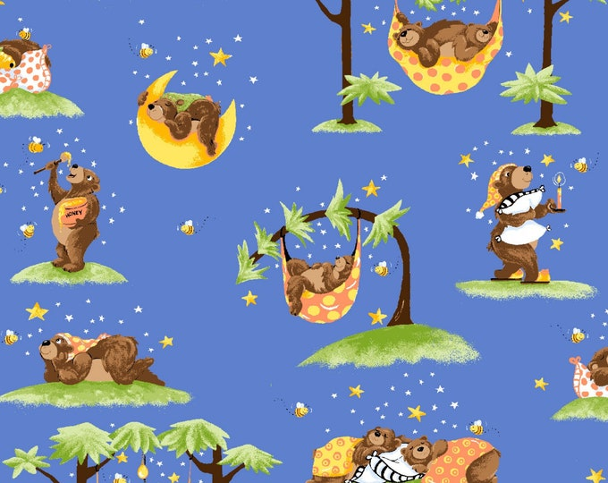 BARON THE BEAR, Children's Cotton Fabric by Susybee 44 Inches Wide
