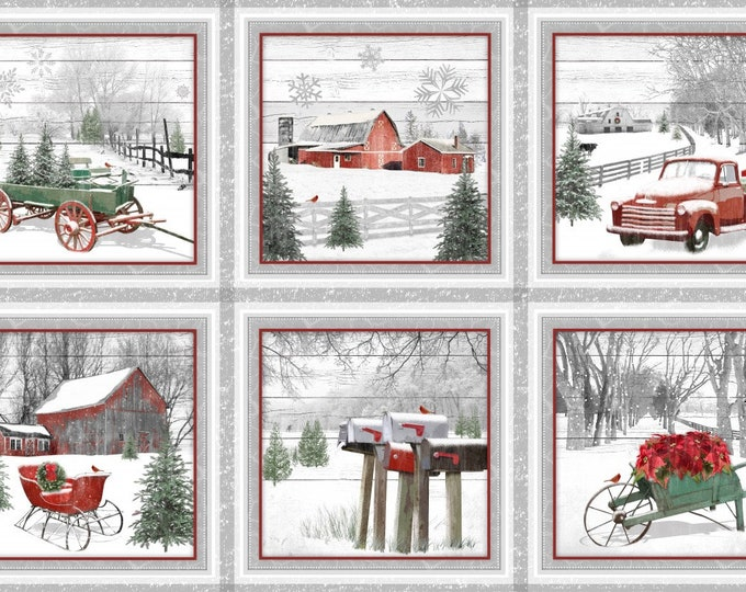 CHRISTMAS PANEL, Holiday Homestead Cotton Panel by Jan Shade 24 x 44 Inches for Henry Glass