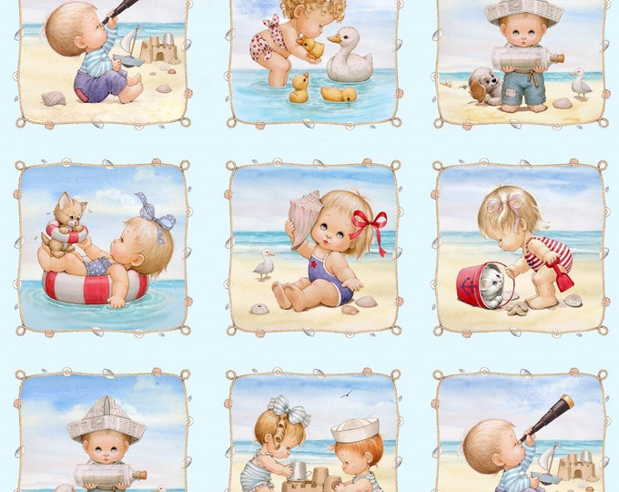 BEACH KIDS PANEL, Children's Cotton Fabric by Elizabeth Studios 23.5 x 45 Inches