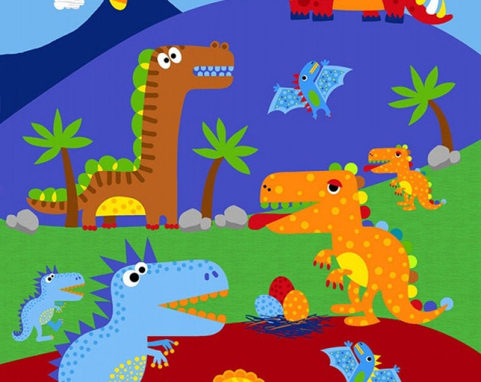 DINO PARADE PANEL, Cotton Panel 24 x 44 Inches by Timeless Treasures