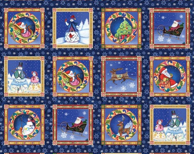 CHRISTMAS PANEL, A Quilter's Christmas Cotton Panel by Benartex 24 x 42 inches