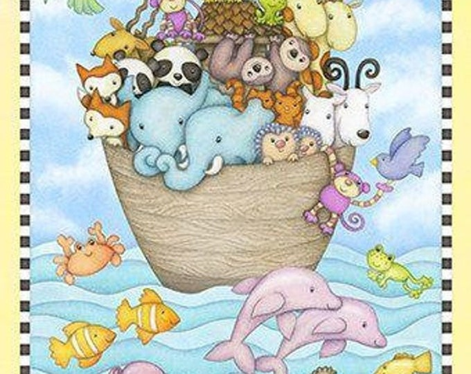 NOAH'S ARK PANEL, Two By Two Cotton 24 x 44 Inch Panel by Beth Logan for Henry Glass Fabrics