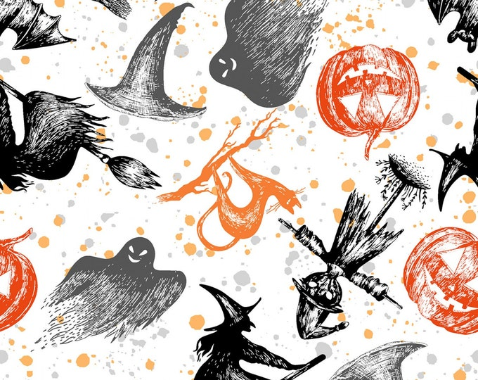 WHITE SPOOKY NIGHT, Cotton Halloween Fabric 44-45 Inches Wide