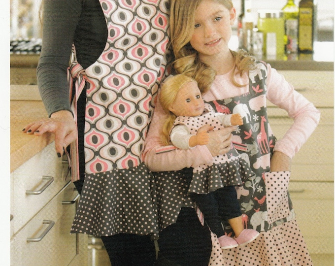 DRESSED ALIKE MOTHER, Daughter Doll Apron Patterns by Indygo Junction