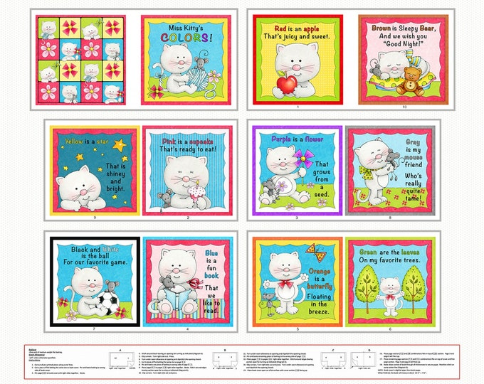 MISS KITTY'S COLORS Book Cotton Cloth Book by Marie Cole for Henry Glass 44 inches Wide