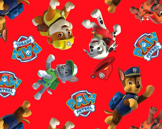 Children's Fabric, Paw Patrol Red Multi Tossed Characters Cotton Fabric 44-45 inches