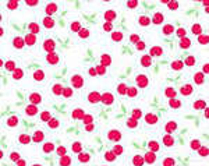 Pam Kitty Picnic Children's Fabric White and Red Cherries Holly Holderman for Lakehouse Dry Goods.