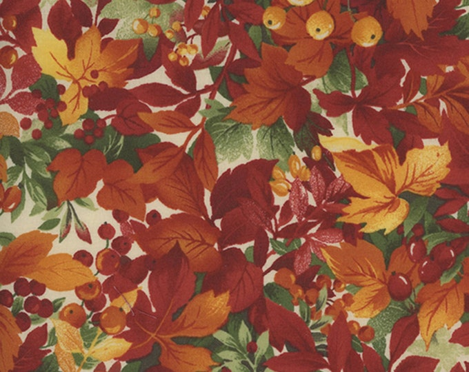 LEAVES AND BERRIES, From Falling Leaves Cotton Fabric Line from Maywood Studios