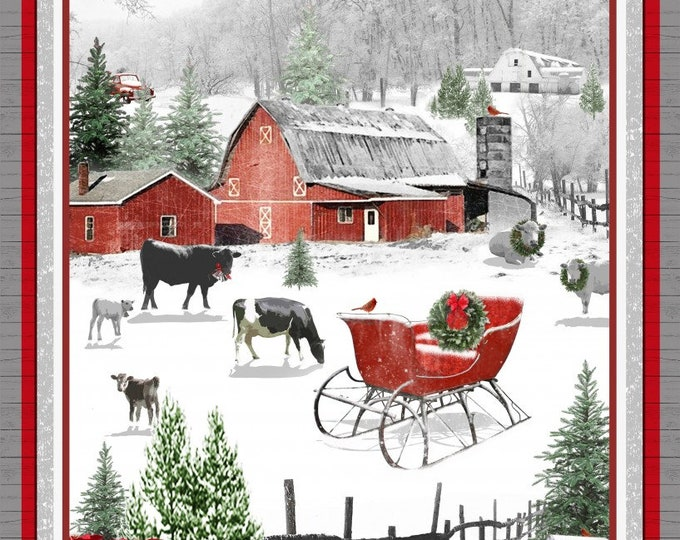 HOLIDAY HOMESTEAD PANEL, Holiday Cotton Panel 24 x 44 Inches by Jan Shade for Henry Glass