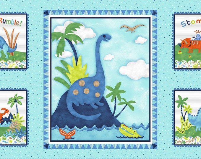 HEAR ME ROAR, Children's Cotton Dinosaur Cloth Book by Studio E Collections 24 x 44 inches