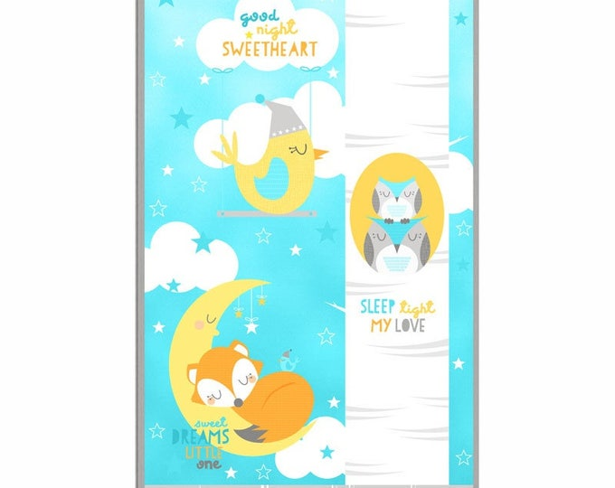 Children's Fabric Panel, Sweet Dreams Little One Cotton Panel 24 x 44 inches by Wilmington