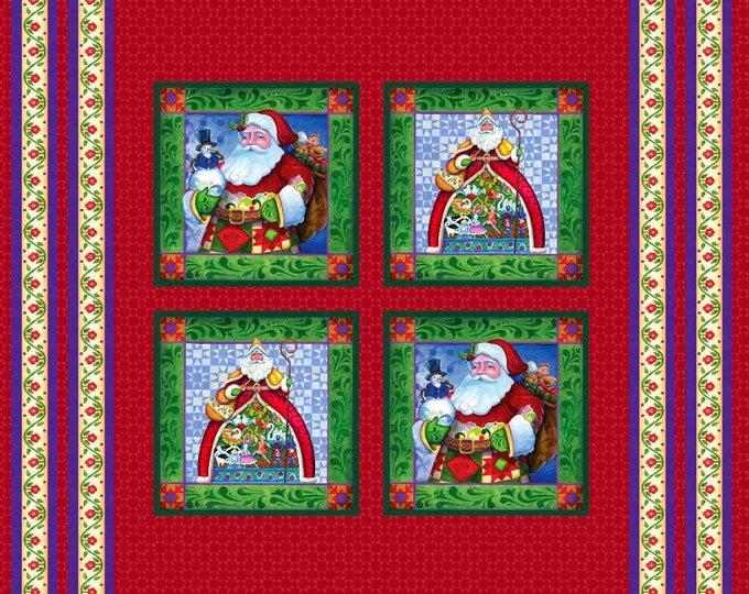 JIM SHORE HOLIDAY, 36 x 44 inch cotton Christmas Pillow Panel by Christmas Traditions