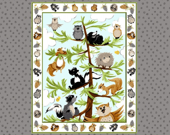 WOODLAND FRIENDS PANEL, Children's Cotton Panel by Susybee 36 x 44 inches